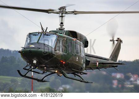 Zeltweg, Austria - September 6, 2019: Austrian Air Force Agusta Bell Ab-212 5d-hs Flying At Zeltweg