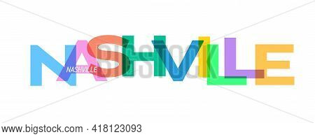 Nashville. Lettering On A White Background. Vector Design Template For Poster, Map, Banner. Vector I