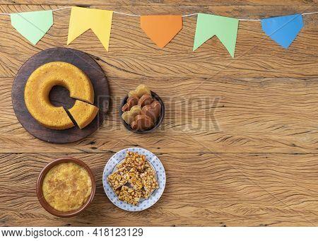 Typical Brazilian June Festival Food. Festa Junina With Copy Space.
