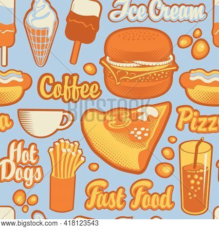 Vector Seamless Pattern On Theme Of Fast Food With Drawings And Inscriptions On Blue Backdrop In A F