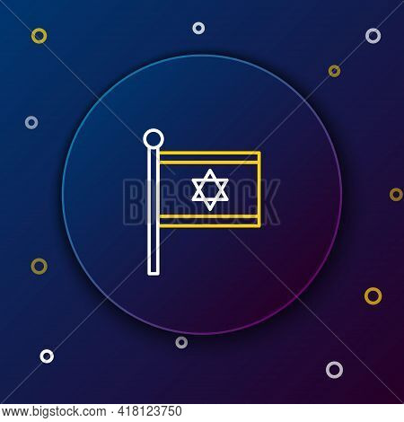 Line Flag Of Israel Icon Isolated On Blue Background. National Patriotic Symbol. Colorful Outline Co