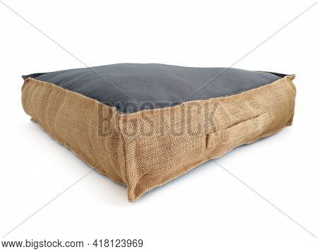 Side View Of Square Cotton Sitting Cushion With Natural Materials On White Background. Chillout Floo