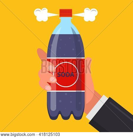 A Bottle Of Soda In The Mans Hand. Open A Carbonated Drink. Flat Vector Illustration.