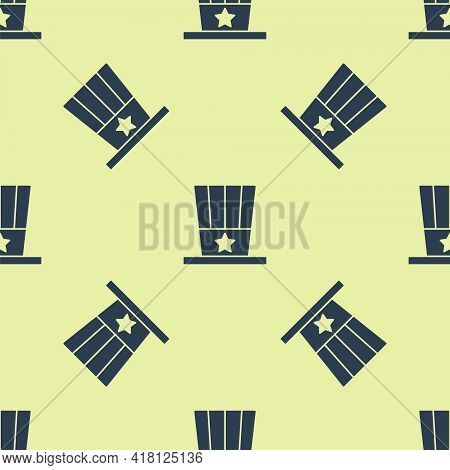 Blue Patriotic American Top Hat Icon Isolated Seamless Pattern On Yellow Background. Uncle Sam Hat.
