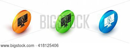Isometric Lock On Computer Monitor Screen Icon Isolated On White Background. Security, Safety, Prote
