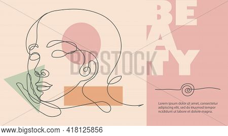 Abstract Line Art Face Design Template. Continuous Line Woman Portrait. Beautiful Girls. Natural Ans