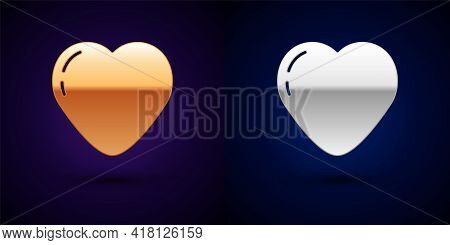 Gold And Silver Heart Icon Isolated On Black Background. Romantic Symbol Linked, Join, Passion And W