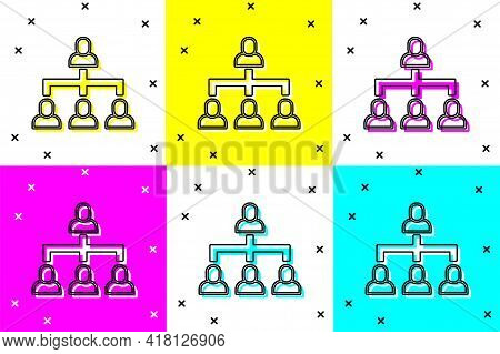 Set Business Hierarchy Organogram Chart Infographics Icon Isolated On Color Background. Corporate Or