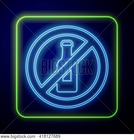 Glowing Neon No Alcohol Icon Isolated On Blue Background. Prohibiting Alcohol Beverages. Forbidden S