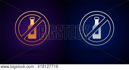 Gold And Silver No Alcohol Icon Isolated On Black Background. Prohibiting Alcohol Beverages. Forbidd
