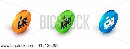 Isometric Joystick For Arcade Machine Icon Isolated On White Background. Joystick Gamepad. Circle Bu