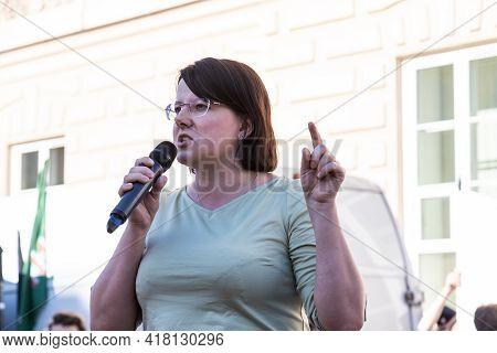 Warsaw/poland - August 16, 2020: Kaja Godek, Pro-life Activist Speech During