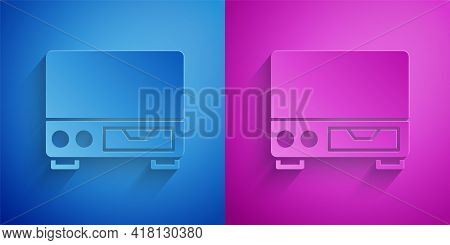 Paper Cut Old Video Cassette Player Icon Isolated On Blue And Purple Background. Old Beautiful Retro