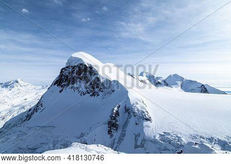 Breithorn Mountain Viewed From Klein Matterhorn. Beautiful Alps