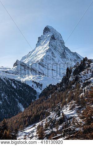 Beautiful View On Matterhorn On Sunny Day