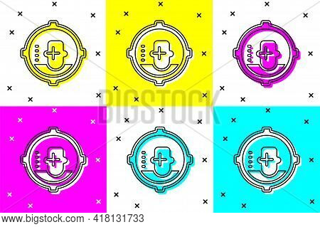 Set Headshot Icon Isolated On Color Background. Sniper And Marksman Is Shooting On The Head Of Man,