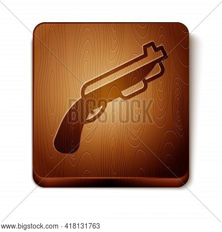 Brown Police Shotgun Icon Isolated On White Background. Hunting Shotgun. Wooden Square Button. Vecto