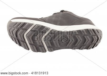 Black Summer Walking Lightweight Shoe Outsole Isolated On White Background