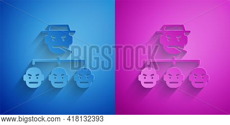 Paper Cut Mafia Icon Isolated On Blue And Purple Background. Boss And Gangsters. Paper Art Style. Ve