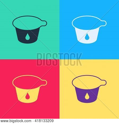 Pop Art Yogurt Container Icon Isolated On Color Background. Yogurt In Plastic Cup. Vector