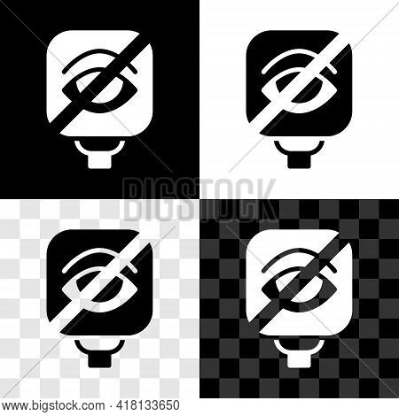 Set Blindness Icon Isolated On Black And White, Transparent Background. Blind Sign. Vector