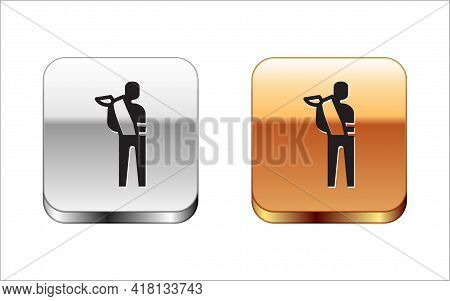 Black Human Broken Arm Icon Isolated On White Background. Injured Man In Bandage. Silver And Gold Sq