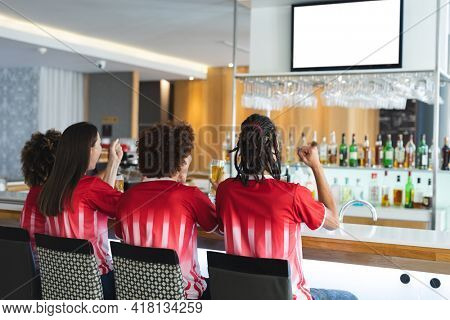 Diverse group of male and female sports fans cheering and watching game at bar. sports fan friends socialising and drinking at bar.