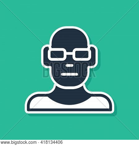 Blue Poor Eyesight And Corrected Vision With Optical Glasses Icon Isolated On Green Background. Vect