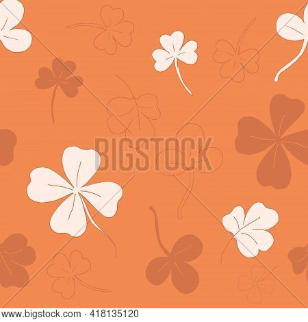 Seamless Pattern With Clover. The Leaves Of The Clover. Orange Pattern. Lots Of Clover Leaves. Vecto