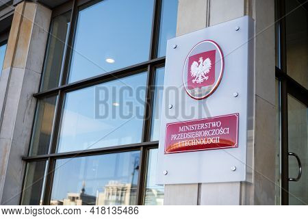 Warsaw/poland - April 2, 2019: View On The Sign Of Ministry Of Family, Labor And Social Policy