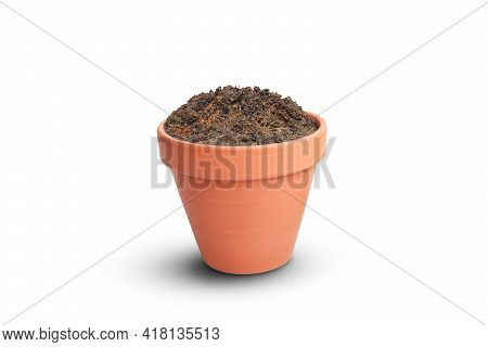 Brown Soil In Clay Flower Pot On White Background.