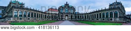 DRESDEN, GERMANY - JULY 15, 2017: panorama of beautiful architecture of ancient Zwinger palace in Dresden, Germany