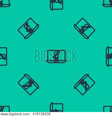 Blue Line Mute Microphone On Laptop Icon Isolated Seamless Pattern On Green Background. Microphone A