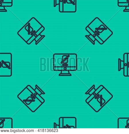 Blue Line Mute Microphone On Computer Icon Isolated Seamless Pattern On Green Background. Microphone