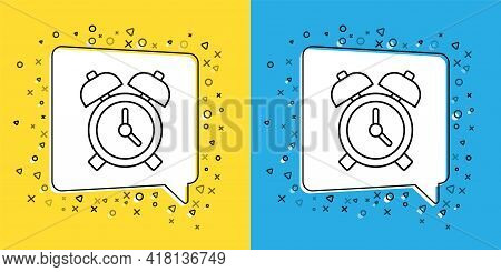 Set Line Alarm Clock Icon Isolated On Yellow And Blue Background. Wake Up, Get Up Concept. Time Sign
