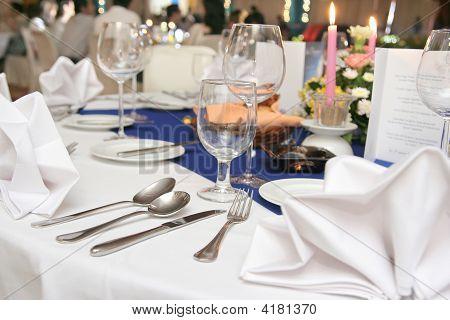 Restaurant Table Setup In Dinner