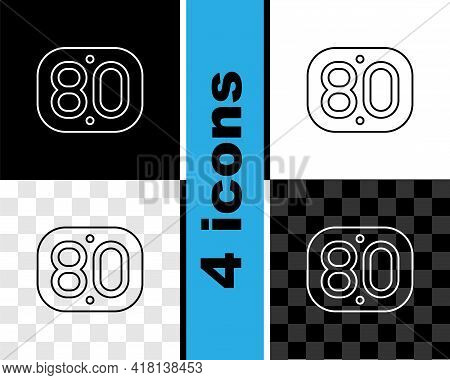 Set Line 80s Retro Icon Isolated On Black And White, Transparent Background. Eighties Poster. Vector