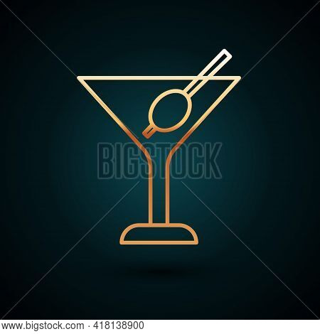 Gold Line Martini Glass Icon Isolated On Dark Blue Background. Cocktail Icon. Wine Glass Icon. Vecto