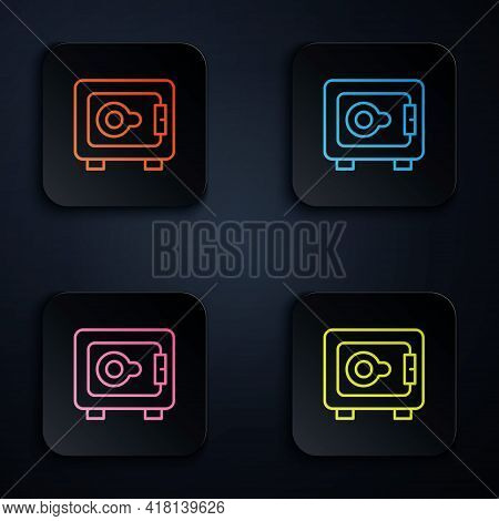 Color Neon Line Safe Icon Isolated On Black Background. The Door Safe A Bank Vault With A Combinatio