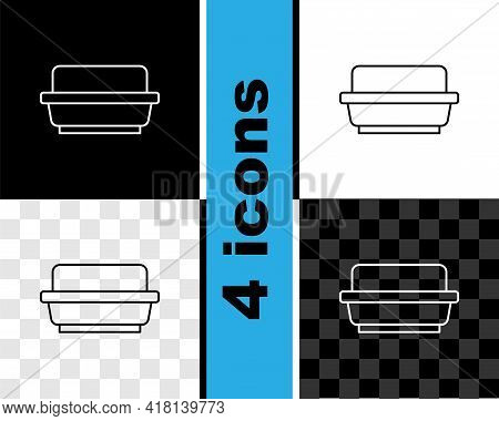Set Line Butter In A Butter Dish Icon Isolated On Black And White, Transparent Background. Butter Br