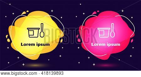 Set Line Yogurt Container With Spoon Icon Isolated On Blue Background. Yogurt In Plastic Cup. Abstra
