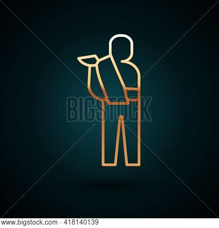 Gold Line Human Broken Arm Icon Isolated On Dark Blue Background. Injured Man In Bandage. Vector
