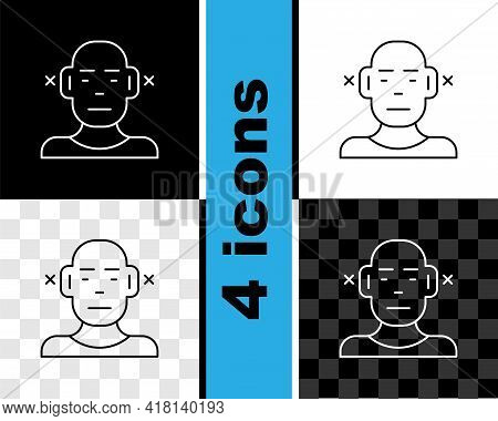 Set Line Deafness Icon Isolated On Black And White, Transparent Background. Deaf Symbol. Hearing Imp
