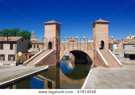Trepponti Bridge Of Comacchio, Ferrara, Emilia Romagna, Italy