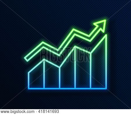 Glowing Neon Line Financial Growth Increase Icon Isolated On Blue Background. Increasing Revenue. Ve