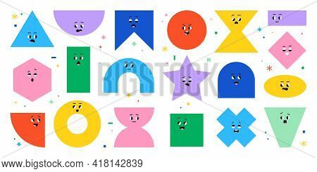 Geometric Character Shapes With Face Emotions, Different Cartoon Basic Figures. Cute Colorful Shapes