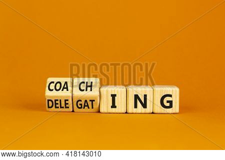 Coaching Or Delegating Leadership Style Symbol. Turned Cubes And Changed Words 'delegating' To 'coac