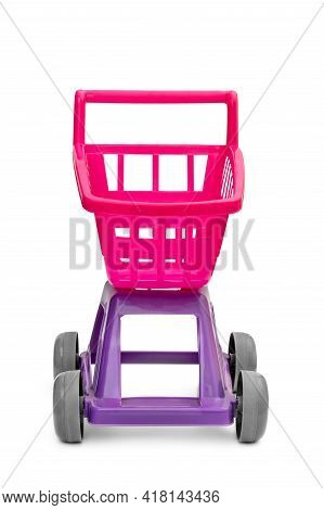 Child's Plastic Toy - Shopping Cart On White.