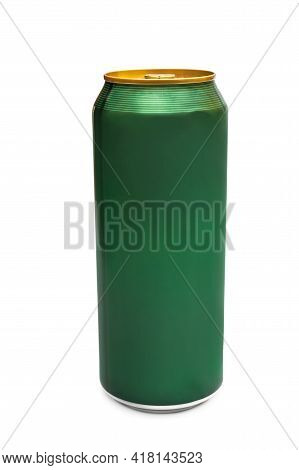 Closed Beer Can Isolated On A White.