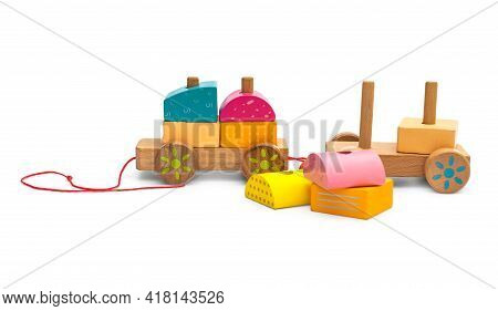 Stacking Wooden Toy Train For Little Children On White Background.
